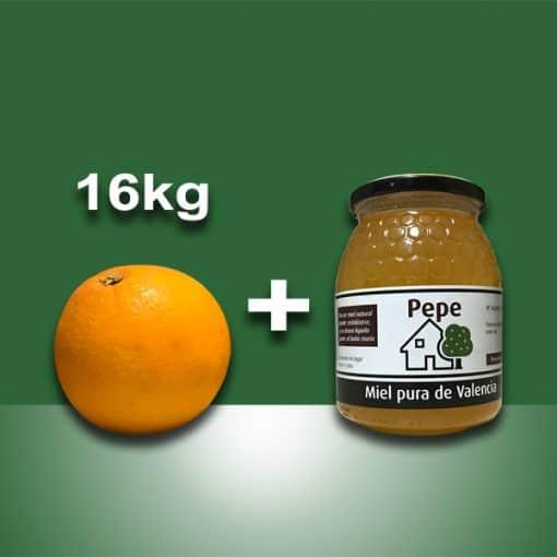 Naranjas ecológicas 10 kg y tarro miel pura de Valencia 1000 gr
